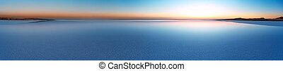Panorama of Salt Lake Tuz at sunset