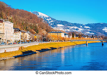 Panorama of Salzburg Old city and Salzach River in Austria