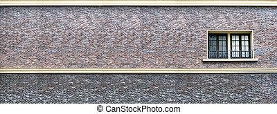 panorama of sand stone brick wall window