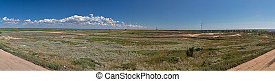 Panorama of sandbar between Black Sea and Sasyk or Kunduk ...
