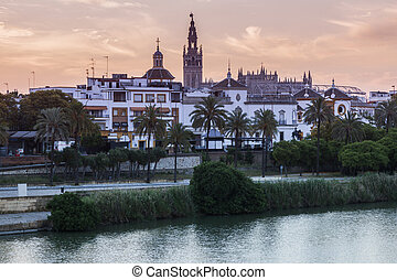 Panorama of Seville at sunrise