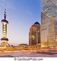 panorama of Shanghai - beautiful city of Shanghai bund night