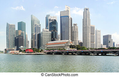 Singapore - Panorama of Singapore in the sunshine day