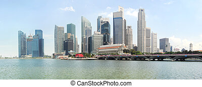 Singapore - Panorama of Singapore in the sunshine day