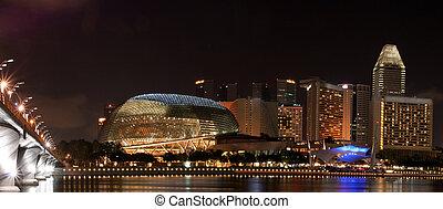 Panorama of Singapore skyline with Esplanade public theatre ...