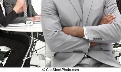 Panorama of smiling ethnic businessman in the office with his team. Footage in high definition