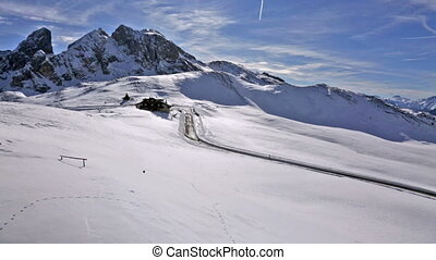 panorama of snow landscape of Passo Giau, Dolomites, Italy -...