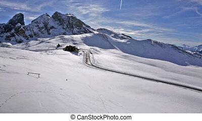 panorama of snow landscape of Passo Giau, Dolomites, Italy -...