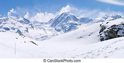 Snow Mountain Range Landscape - Panorama of Snow Mountain...