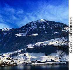 Panorama of Snow Mountain. Winter in the swiss alps.
