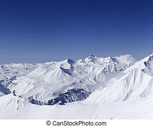 Panorama of snowy mountains. Caucasus Mountains, Georgia. -...