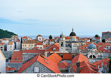 Panorama of St Blaise church dome and Old town Dubrovnik