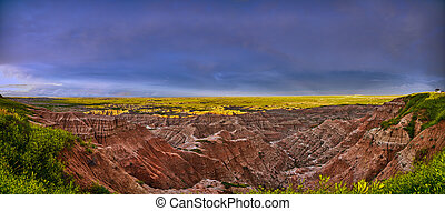 Panorama of storm clouds at Badlands National Park.