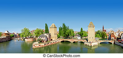 Panorama of Strasbourg, medieval bridge Ponts Couverts. Alsace, France.