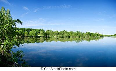 summer morning lake