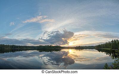 panorama of summer sunset