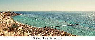 Panorama of sunny beach