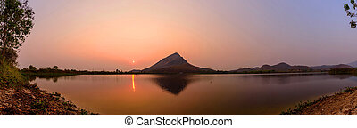 Panorama of Sunrise at the lake / lake view in sunrise time