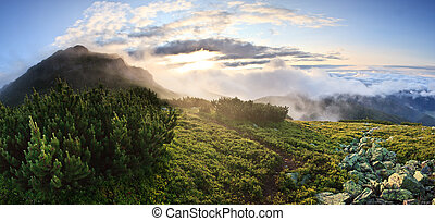 Panorama of sunrise in foggy mountains