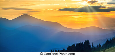Panorama of sunset in the mountains - Panorama of beautiful...