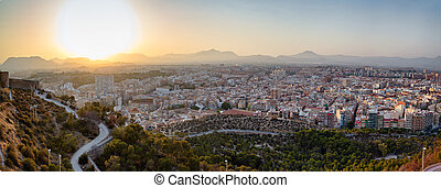 Panorama of sunset over the old city of Santa Barbara Castle, Alicante, Spain.