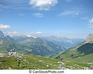 Panorama of swis mountains in summer