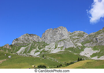 Panorama of swiss mountains on a sunny day in summer