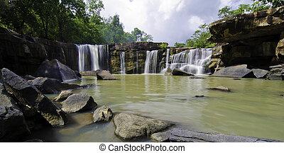Panorama of Tat Ton Waterfall at Chaiyaphum in Thailand.