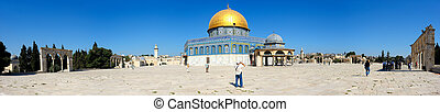 Panorama of Temple Mount, Dome of the Rock and El Aqsa Mosque in Jerusalem, Israel.