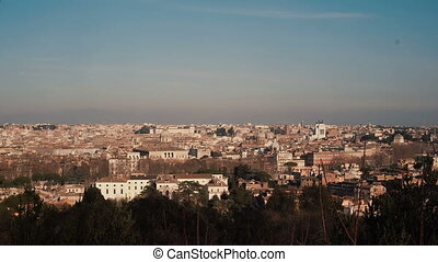 Panorama of the ancient city of Rome, Italy. Camera moving...