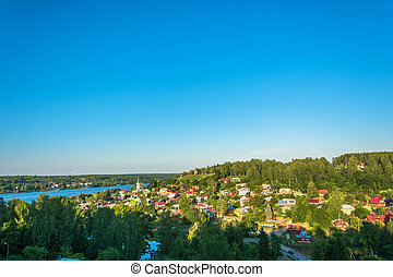 Panorama of the ancient Russian town of Plyos, Russia. -...