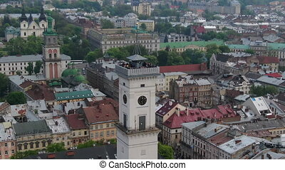 Panorama of the ancient town. Town Hall, Ratush. Drone shot