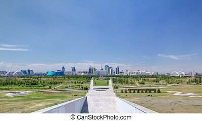 Panorama of the Astana city timelapse and the president's residence Akorda with park