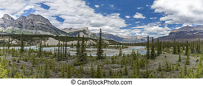 Panorama of the Athabasca River - Jasper National Park,...