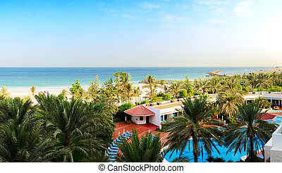 Panorama of the beach at luxury hotel, Ajman, UAE