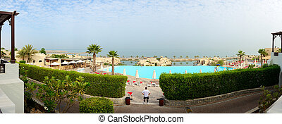 Panorama of the beach at luxury hotel, Ras Al Khaima, UAE