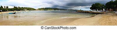panorama of the beach at Unawatuna