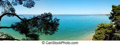 Panorama of the beach, Halkidiki, Greece