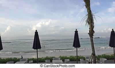 Panorama of the beach of the tropical resort, Bali, Indonesia.