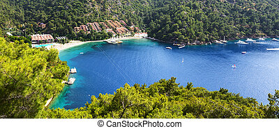 Panorama of the beach on turkish resort, Fethiye, Turkey