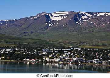 panorama of the beautiful city of Akereyri in iceland