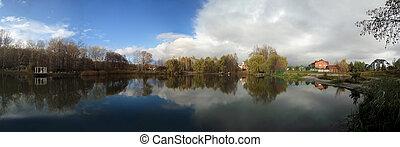 Panorama of the beautifull autumn lake