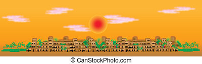 Panorama of the big arabic city at sunset