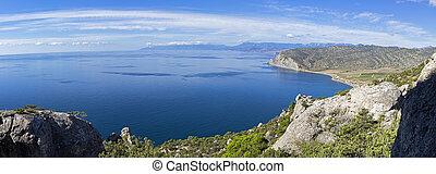 Panorama of the Black Sea coast of Crimea.
