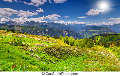 Panorama of the blossom alpine meadows in the Caucasus mountains. Upper Svaneti, Georgia, Europe.