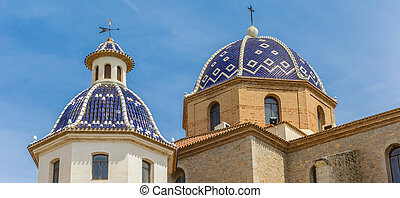 Panorama of the blue domes of the church in Altea, Spain