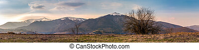 panorama of the Borzhava mountain ridge with snowy tops....