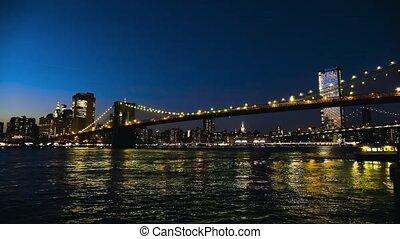 Panorama of the Brooklyn Bridge at sunset, New York