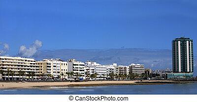 Panorama of the capital of Lanzarote, Arrecife,