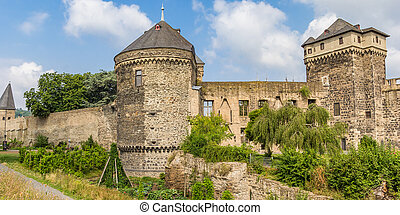 Panorama of the castle ruins in Andernach